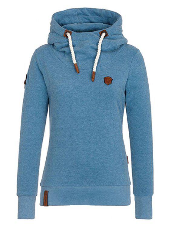 ladies Pure Color Long Sleeves Pullover Hoodie - BLUE M