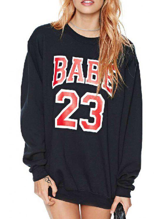 shop Red Number Print Long Sleeve Sweatshirt - BLACK S