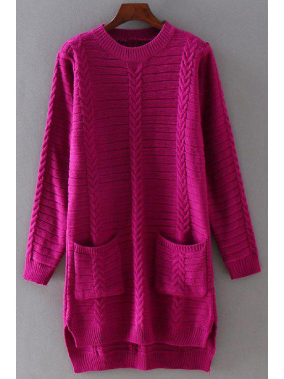 affordable High-Low-Hem Round Collar Solid Color Sweater - WINE RED ONE SIZE(FIT SIZE XS TO M)