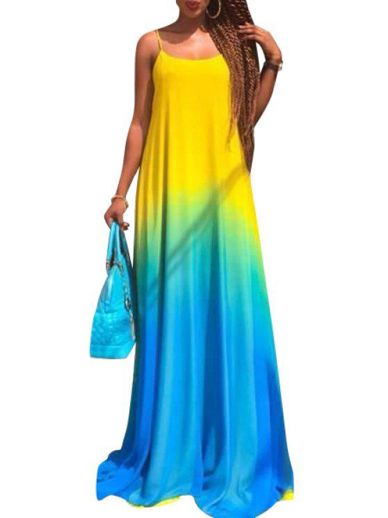 chic Halter Ombre Color Maxi Dress - AS THE PICTURE S