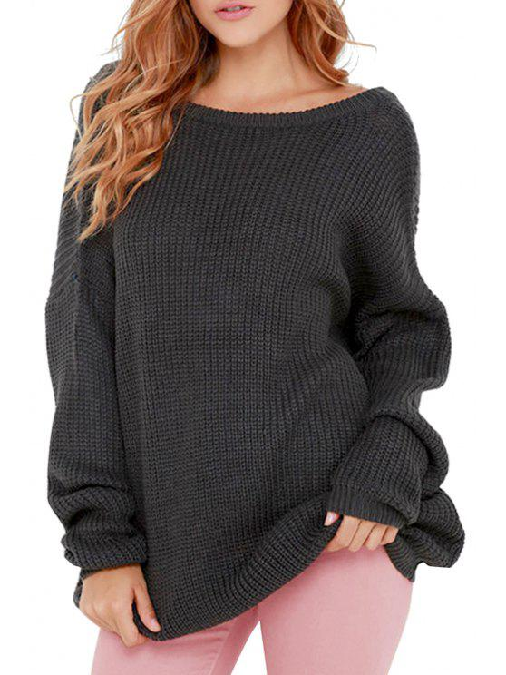 trendy Black Scoop Neck Long Sleeve Jumper - BLACK ONE SIZE(FIT SIZE XS TO M)
