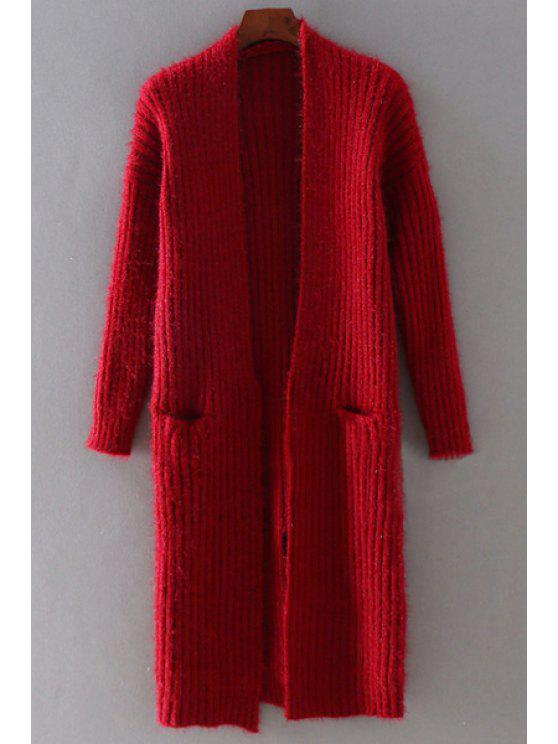 buy Back Slit Solid Color Slimming Long Cardigan - WINE RED ONE SIZE(FIT SIZE XS TO M)