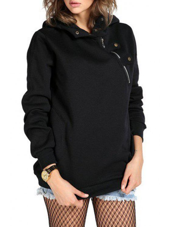 affordable Zipper Long Sleeve Pullover Hoodie - BLACK S