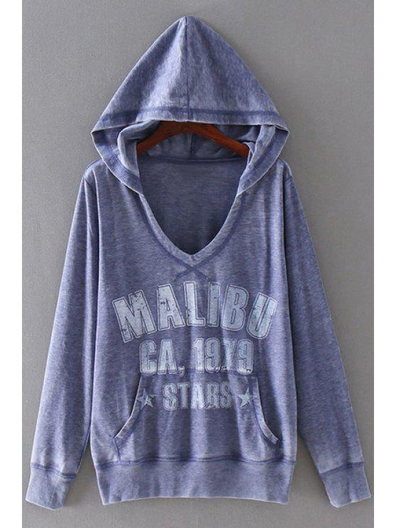 unique Letter Print Hooded Neck Long Sleeves Hoodie - PURPLE M