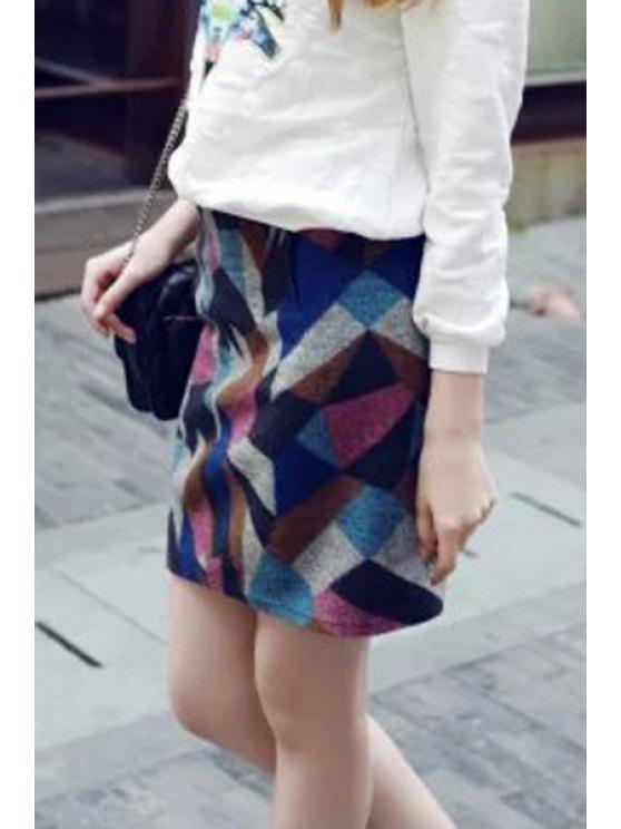 outfit Geometric Pattern High Waisted Skirt - BLUE XS