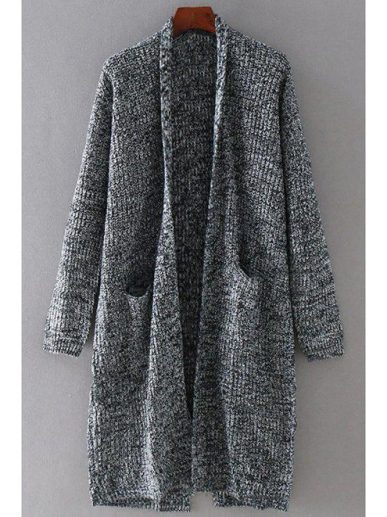 hot Long Sleeves Colormix Slimming Long Cardigan - GRAY S