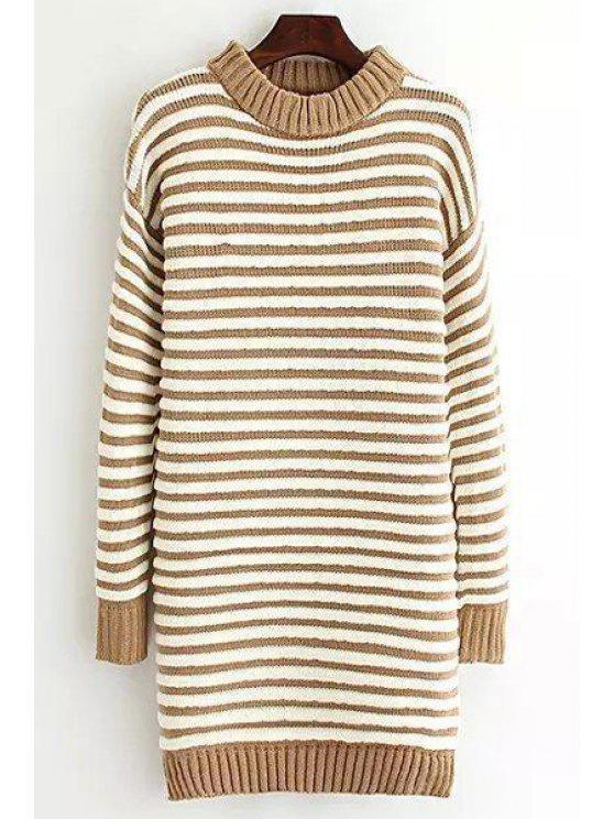 sale Stripe Round Neck Long Sleeve Sweater Dress - KHAKI ONE SIZE(FIT SIZE XS TO M)
