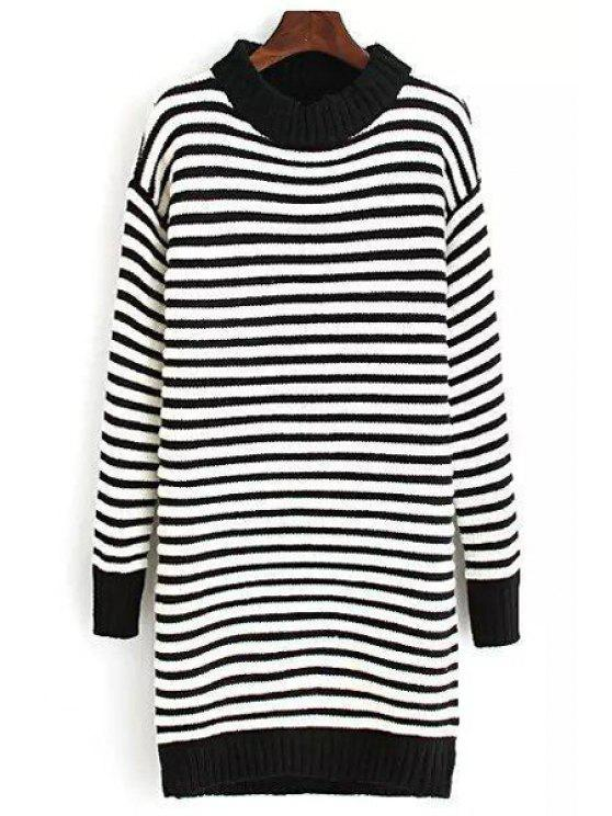 d4bd2411161 buy Stripe Round Neck Long Sleeve Sweater Dress - BLACK ONE SIZE(FIT SIZE XS