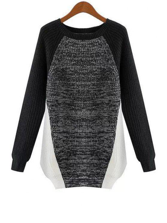 womens Long Sleeve Color Block Pullover Sweater - GRAY M