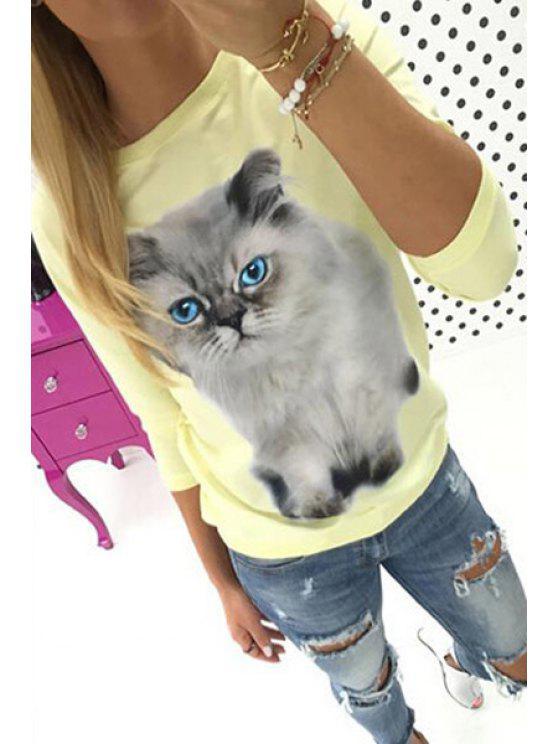 trendy 3/4 Sleeve Kitten Print Sweatshirt - YELLOW M