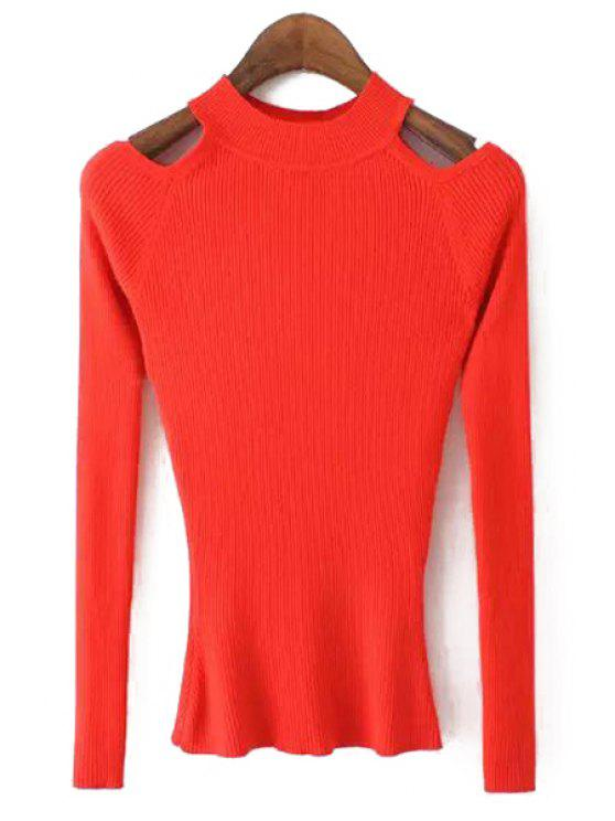 ladies Cut Out Round Neck Long Sleeve Jumper - RED M