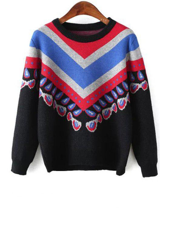 new Zig Zag Pattern Long Sleeves Jumper - BLACK ONE SIZE(FIT SIZE XS TO M)