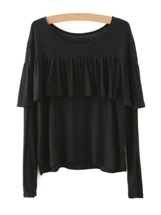 Quasten gespleißtes langes Hülsen-T-Shirt - Schwarz L