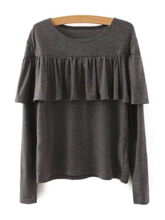 Quasten gespleißtes langes Hülsen-T-Shirt - Khaki M