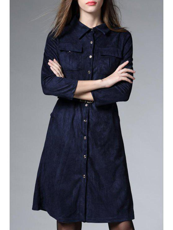 womens Solid Color Suede Slimming 3/4 Sleeves Shirt Dress - BLUE M