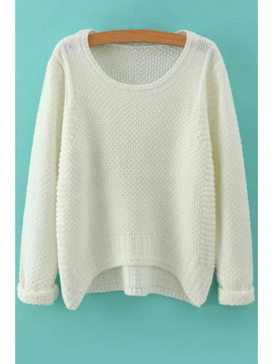 latest Long Sleeve Pure Color High Low Jumper - WHITE ONE SIZE(FIT SIZE XS TO M)