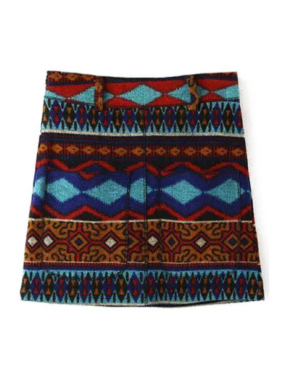 fancy Geometric Pattern High Waist A Line Skirt - RED S