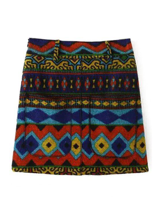 affordable Argyle Pattern High Waist A Line Skirt - YELLOW S