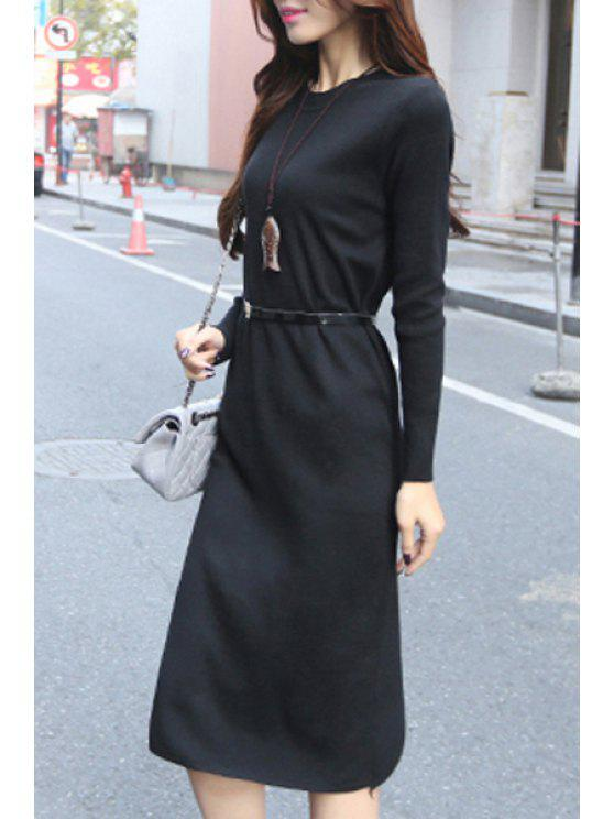 affordable Solid Color Waisted Elegant Long Sleeves Dress - BLACK ONE SIZE(FIT SIZE XS TO M)
