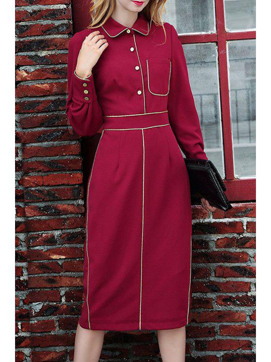 women Pocket Waisted Elegant Flat Collar Long Sleeves Dress - WINE RED S