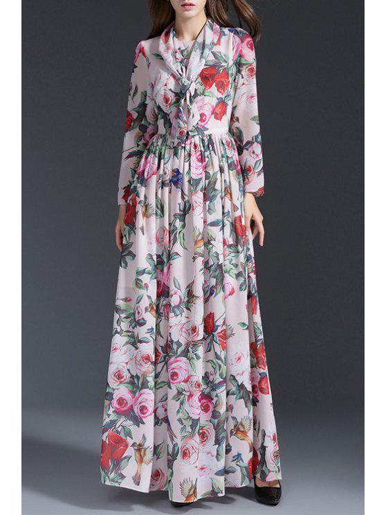 fashion Long Sleeve Rose Print Prom Dress - WHITE S