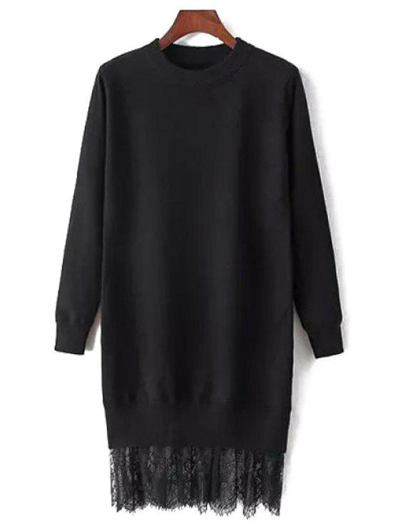 womens Lace Spliced Round Neck Long Sleeve Jumper - BLACK ONE SIZE(FIT SIZE XS TO M)