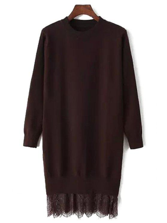women Lace Spliced Round Neck Long Sleeve Jumper - COFFEE ONE SIZE(FIT SIZE XS TO M)