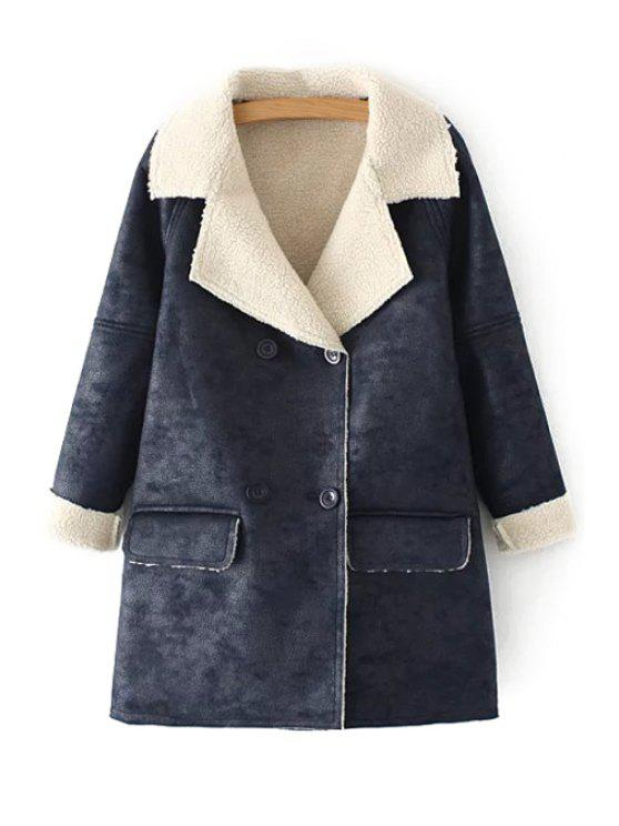 fancy Lapel Long Sleeve Double-Breasted Coat - CADETBLUE S