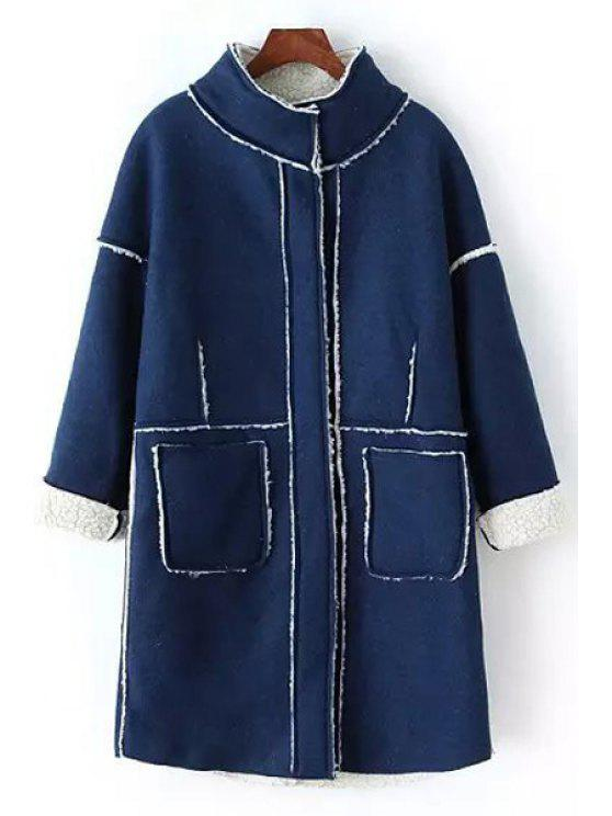 buy Solid Color Stand Neck Worsted Coat - SAPPHIRE BLUE ONE SIZE(FIT SIZE XS TO M)