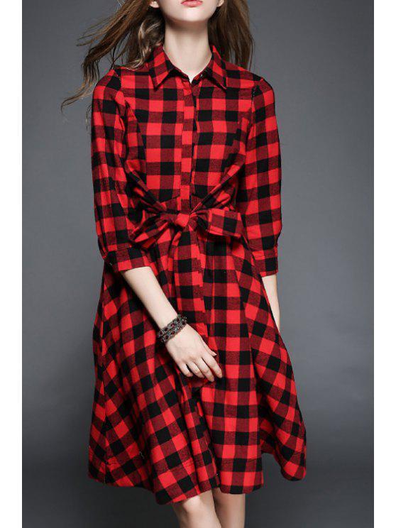 fashion Plaid Drawstring Flat Collar 3/4 Sleeves Shirt Dress - RED XL