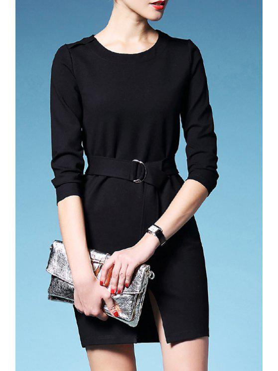 chic Solid Color Waisted Elegant Front Slit Round Collar Dress - BLACK S
