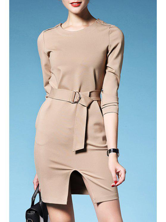 affordable Solid Color Waisted Elegant Front Slit Round Collar Dress - KHAKI S