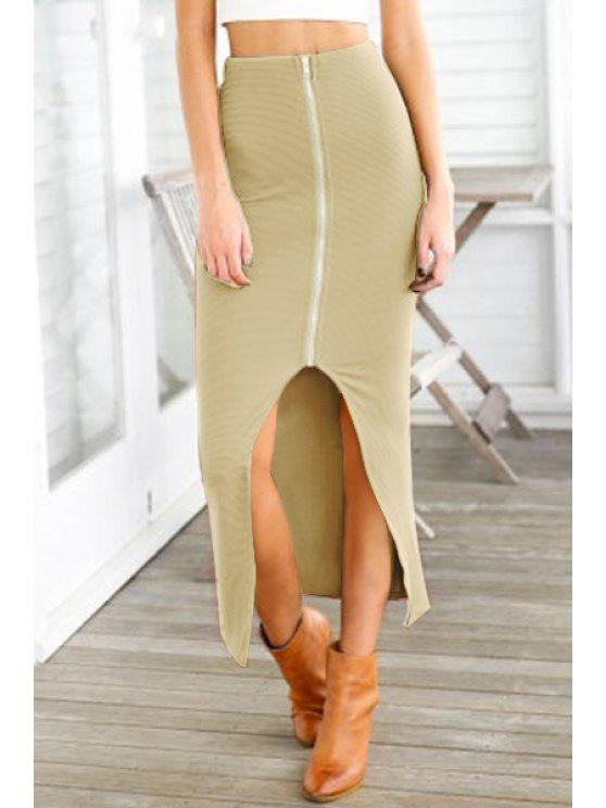 latest Zipper Slit High Waisted Skirt - KHAKI ONE SIZE(FIT SIZE XS TO M)