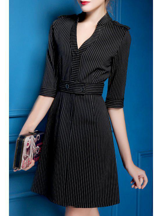 women's Striped Waisted Elegant V-Neck Half Sleeves Dress - BLACK S