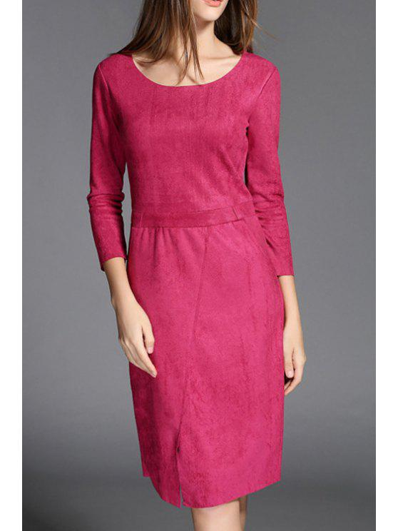 fancy Solid Color Front Slit Suede Slimming Round Collar Dress - ROSE XL