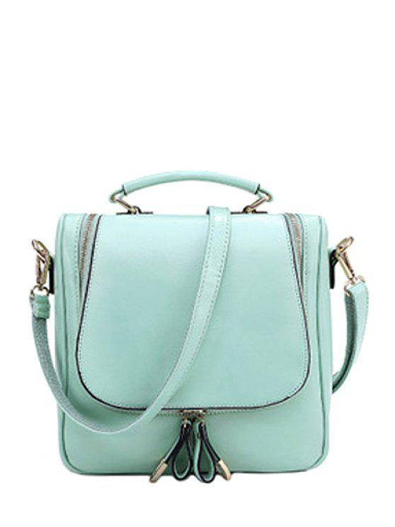 shops Zippers PU Leather Candy Color Tote Bag - GREEN