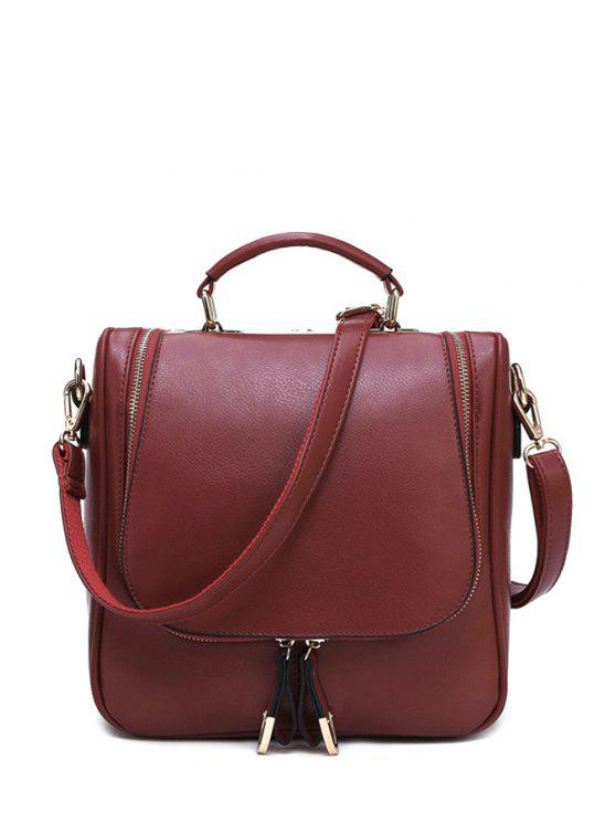 womens Zippers PU Leather Candy Color Tote Bag - WINE RED