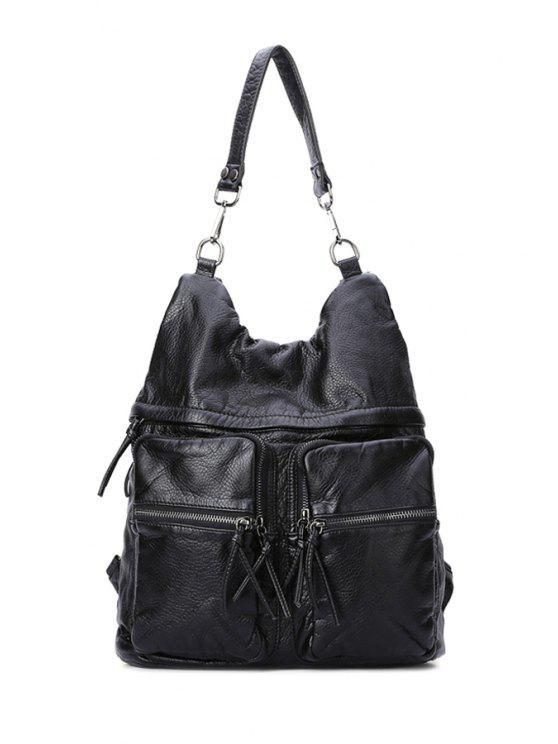 outfit Black Zipper Embossing Shoulder Bag - BLACK