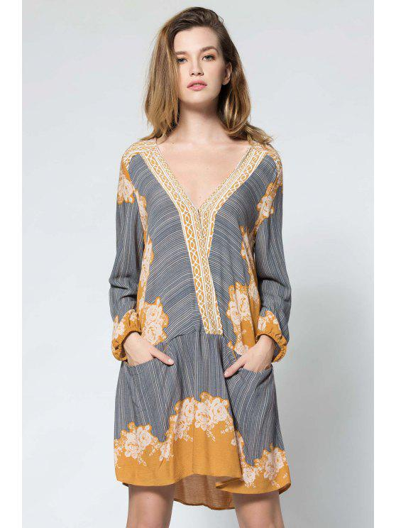 Long Sleeve Floral Surplice Dress - Yellow
