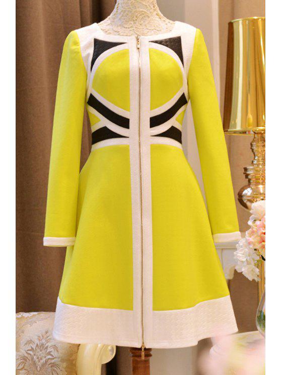 Kleid mit Farbenblock und hoher Taille - Gelb XL