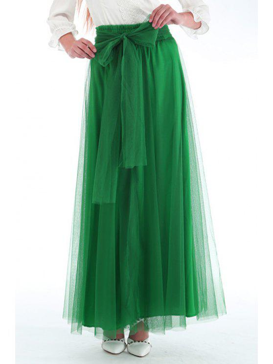 new Mesh High Waisted A Line Skirt - GREEN ONE SIZE