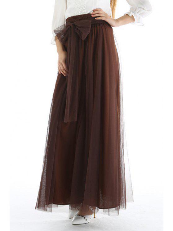Malla de alta cintura una falda de línea - Café Única Talla