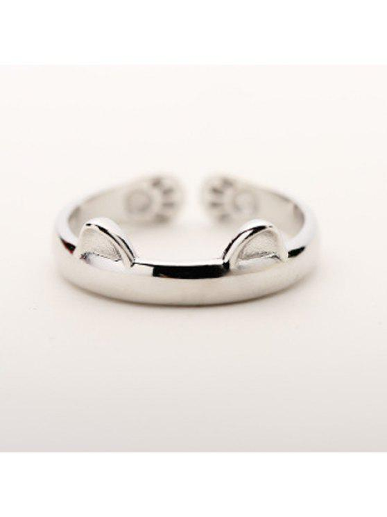 hot Alloy Cat Cuff Ring - SILVER ONE-SIZE