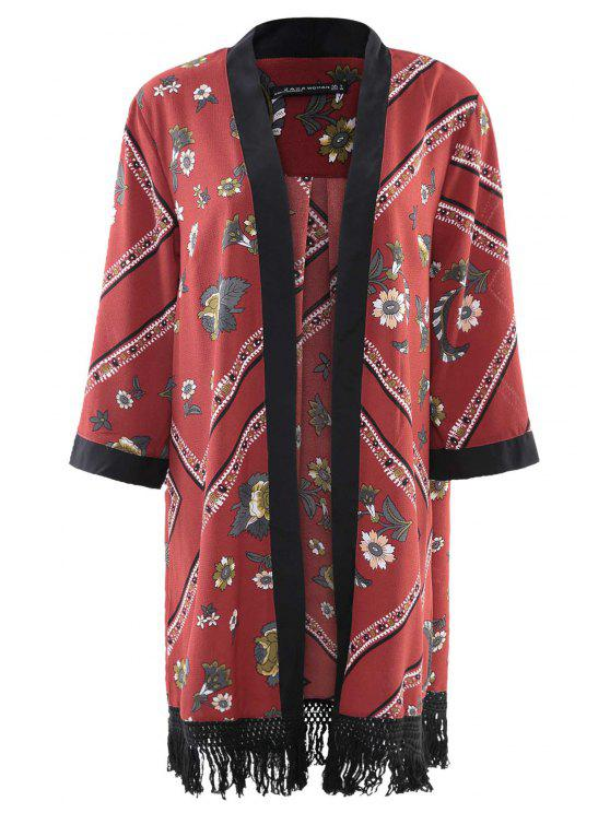lady Floral Chiffon Long Sleeve Kimono - RED S