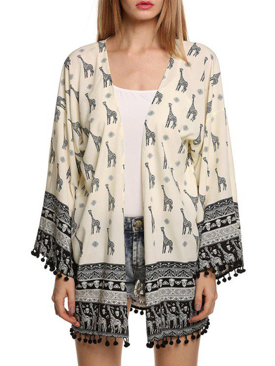 women Giraffe Print Long Sleeve Kimono - WHITE AND BLACK S
