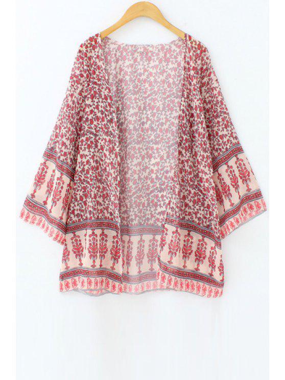 Tiny Floral Print Chiffon Kimono Blouse - Rouge L