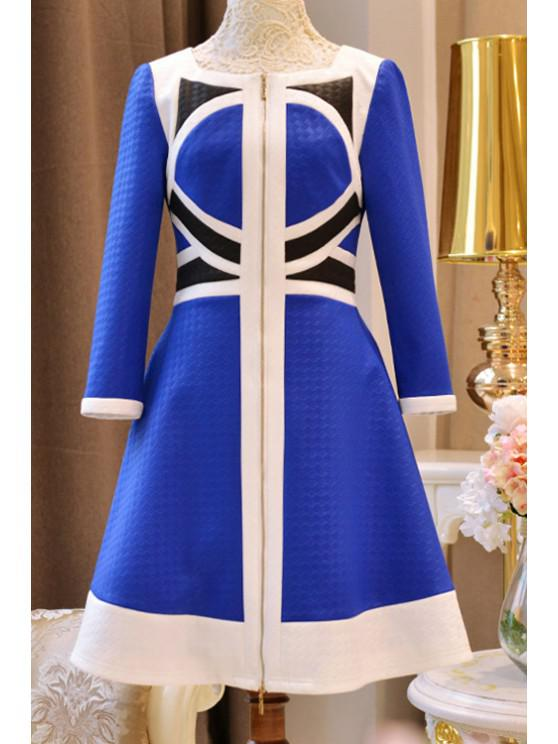 ladies Color Block High Waisted Dress - BLUE M