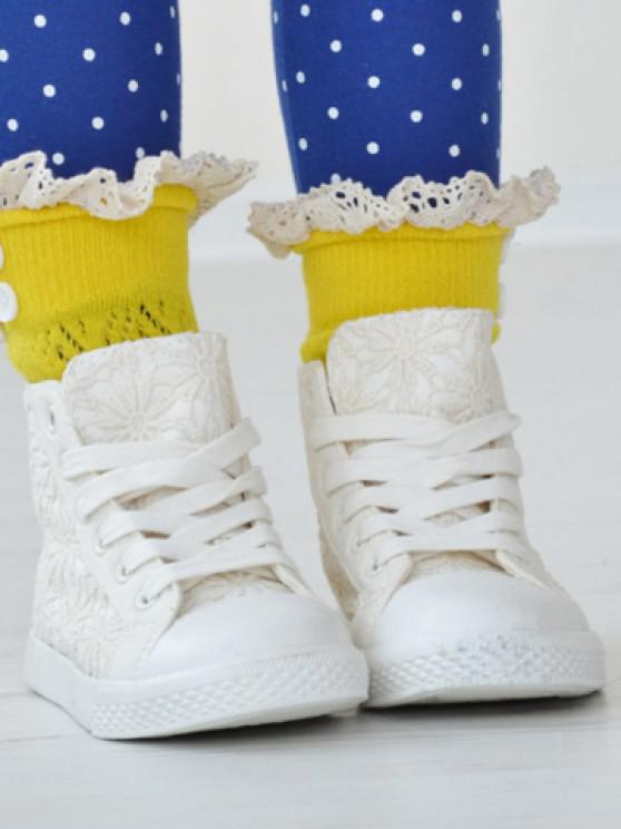 trendy Pair of Chic Button and Lace Embellished Rhombus Knitted Boot Cuffs For Girls - RANDOM COLOR