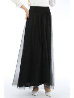 Mesh High Waisted A Line Skirt - Black