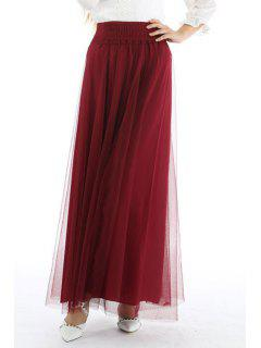 Mesh High Waisted A Line Skirt - Wine Red